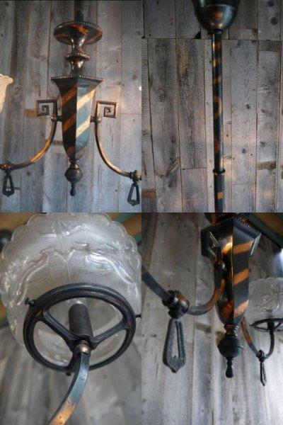 画像2: アンティーク メタル×ガラスシェード 天井取り付けランプ