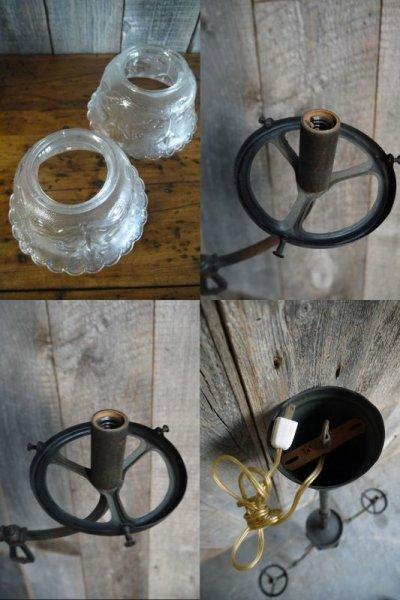 画像3: アンティーク メタル×ガラスシェード 天井取り付けランプ
